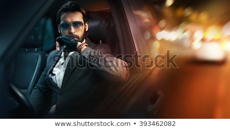 élégant · barbu · homme · posant · mur - photo stock © feedough