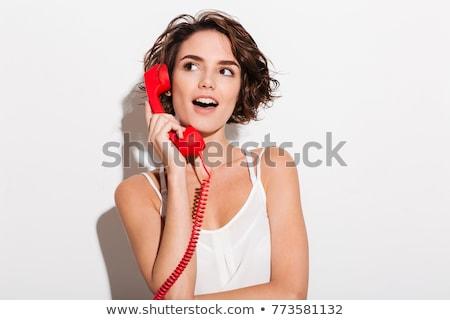 lovely woman talking on the phone retro portrait stock photo © nejron