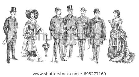 Esboço retro cavalheiros seis vintage Foto stock © kali