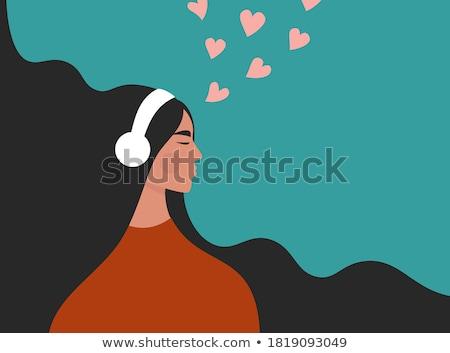 прослушивании · любимый · музыку · серьезный · девушки · наушники - Сток-фото © lightpoet