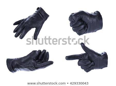 zwarte · leder · handschoenen · geïsoleerd · witte · vrouw - stockfoto © siavramova