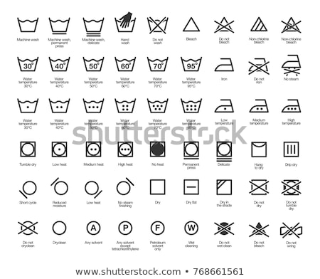 set of instruction laundry icons washing symbols stock photo © elenapro