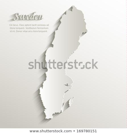 Sziluett térkép Svédország felirat fehér felirat Stock fotó © mayboro