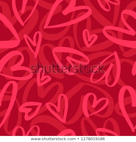 naadloos · romantische · patroon · harten · papier · hart - stockfoto © elenapro