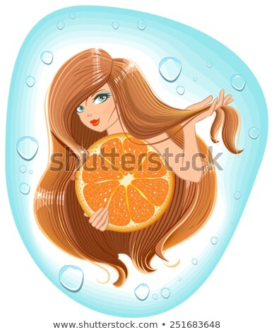Girl with long hair holds an orange. Template label for packing shampoo Stock photo © orensila