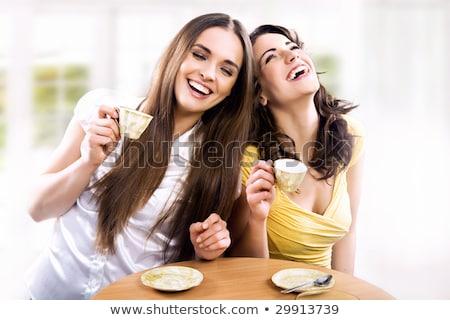 zwei · Mädchen · trinken · Tee · Porträt · Laptop - stock foto © pressmaster