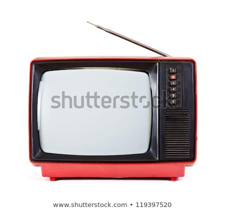 Isolated portable tv set with antenna Stock photo © njnightsky