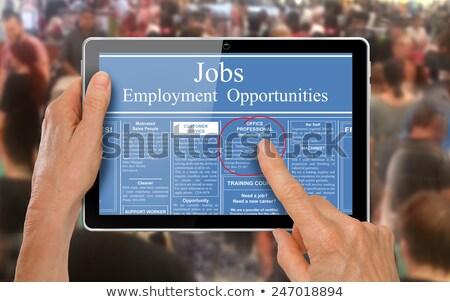 cautare · muncă · comprimat · anunturi · ecran - imagine de stoc © vinnstock