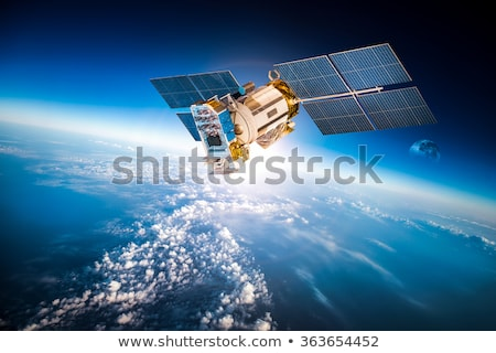 Foto stock: Satélite · espaço · comunicação · sinalizar · ícone · vetor