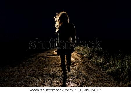 молодые испуганный женщину розовый Torn платье Сток-фото © acidgrey
