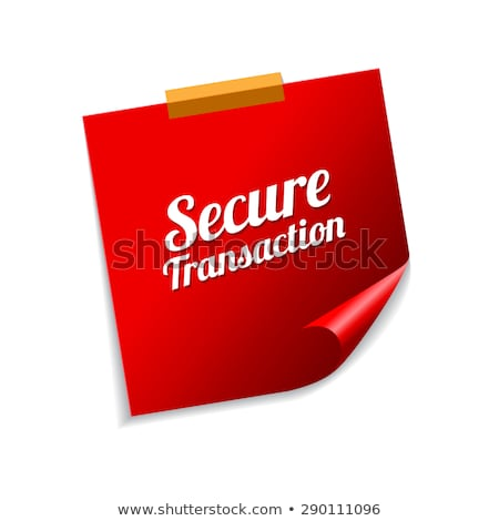 Secure Transaction Red Sticky Notes Vector Icon Design Stock photo © rizwanali3d