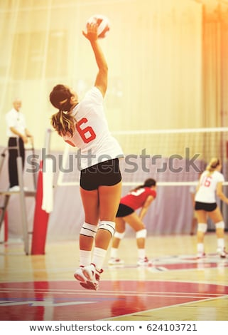 Foto stock: Woman Serve At A Volley Ball Match