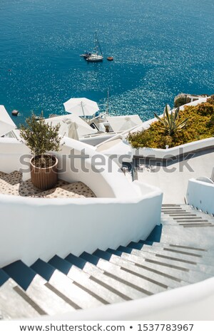 stairs with steps leading to the sea at luxury hotel stock photo © master1305