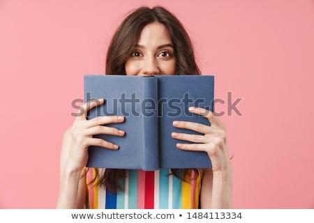 驚いた · 学生 · フェドーラ · 眼鏡 · リュックサック · 読む - ストックフォト © deandrobot