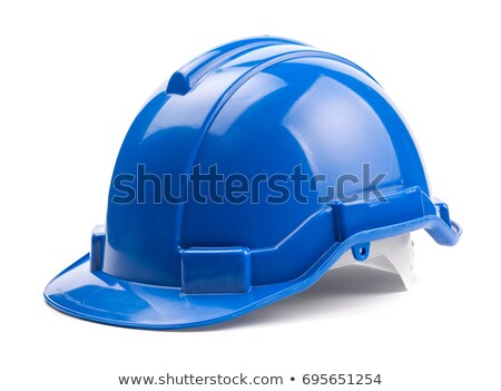Niebieski kask odizolowany biały pracy tle Zdjęcia stock © tetkoren