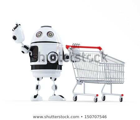 robot with shopping cart pointing at invisible object isolated contains clipping path stock photo © kirill_m