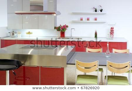 piros · sziget · konyha · ezüst · modern · belső - stock fotó © lunamarina