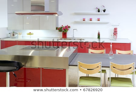 Red island kitchen silver modern interior house stock photo © lunamarina