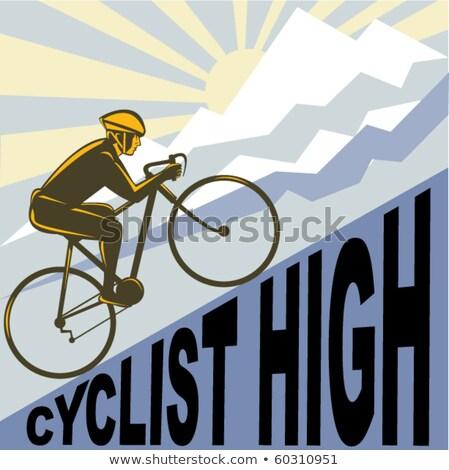 Kerékpáros versenyzés stílus illusztráció férfi lovaglás Stock fotó © patrimonio