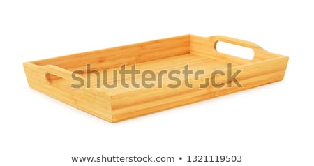 Rustic rectangular wicker tray isolated on white Stock photo © ozgur