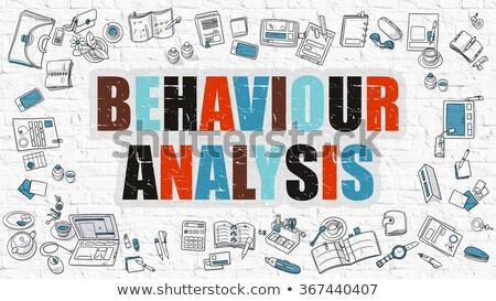 Stock photo: Behaviour Analysis Concept. Multicolor on White Brickwall.