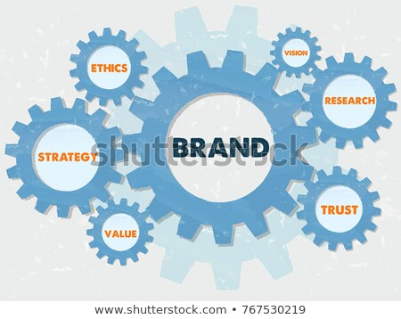 Crm And Business Concept Words In Grunge Flat Design Gears Stockfoto © marinini