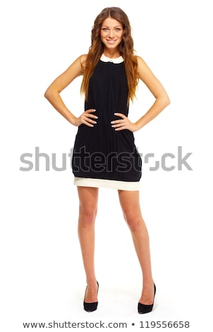 Stockfoto: Young Pretty Woman In Mini Black Dress Isolated On White