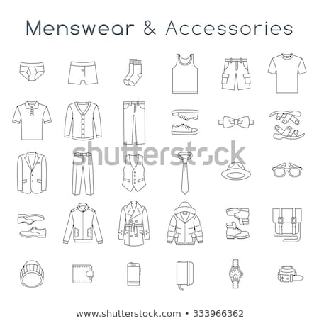 Men fashion clothes and accessories flat outline vector icons  Stock photo © vectorikart