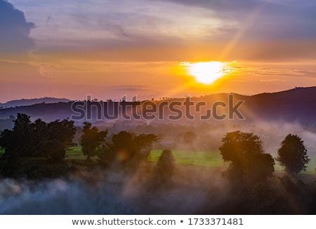 Gün batımı plaj arkasında dağ altın zaman Stok fotoğraf © bank215