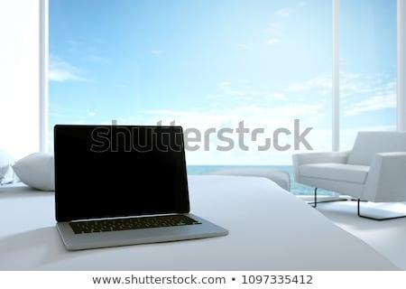 ラップトップコンピュータ 表 ホテル 科学 サイバースペース ストックフォト © dolgachov