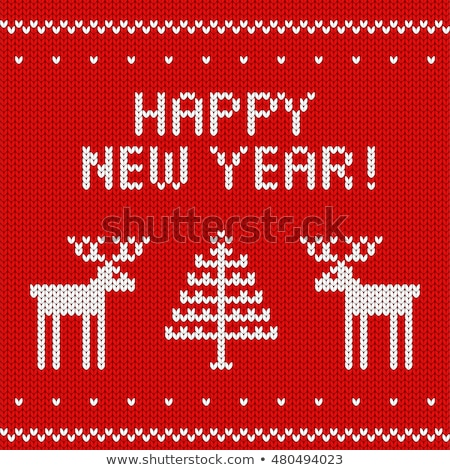 Happy new 2017 year knitting pattern, vector illustration Stock photo © carodi