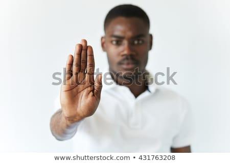 genç · gündelik · Afrika · adam · dur · işareti - stok fotoğraf © deandrobot