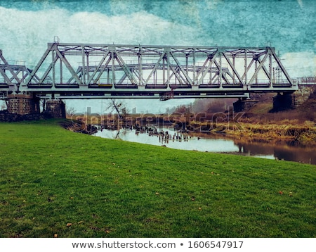 Locomotief spoorweg brug bouw donau Belgrado Stockfoto © simply