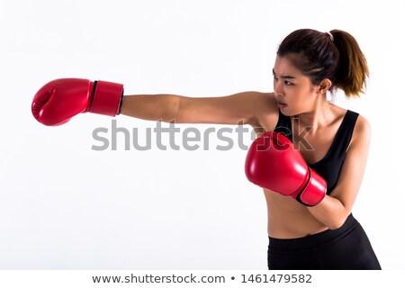 Sério jovem esportes senhora boxeador quadro Foto stock © deandrobot