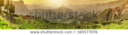 Foto stock: Panorama · nascer · do · sol · canárias · casa · cidade