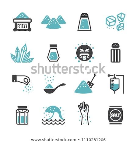 witte · zout · hoop · houten · tafel · voedsel - stockfoto © alex9500