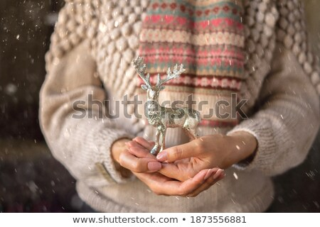 Mulher mãos veado brinquedo natal Foto stock © chesterf