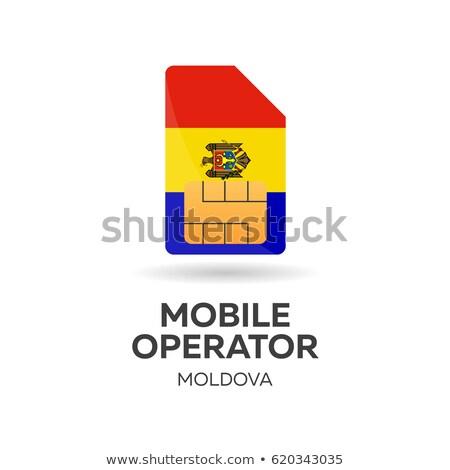 Moldova mobile operator. SIM card with flag. Vector illustration. Stock photo © Leo_Edition