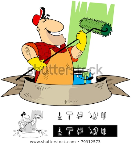 Painter Decorator Handyman Cartoon Character Stock photo © Krisdog