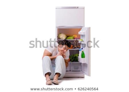 человека · холодильник · полный · продовольствие · дома · счастливым - Сток-фото © elnur