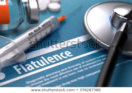 Gedruckt Diagnose medizinischen blau Stethoskop Pillen Stock foto © tashatuvango
