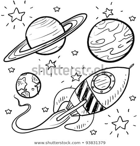 Indulás űr rakéta rajz stílus fehér Stock fotó © m_pavlov