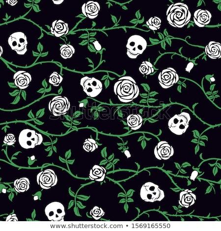 Halloween skull vector seamless pattern, Mexican cute black skulls with bones design, Dia de los Mue Stock photo © RedKoala