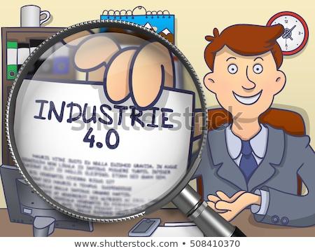 Industry 4.0 through Magnifying Glass. Doodle Concept. Stock photo © tashatuvango