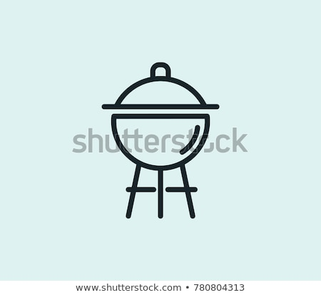 grill · faszén · vonal · ikon · vektor · izolált - stock fotó © rastudio
