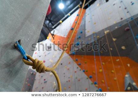 Angel on Blue Carabine with a Orange Ropes. Stock photo © tashatuvango