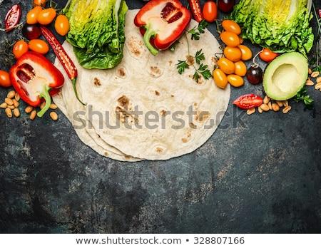 Különböző mexikói étel hozzávalók fa asztal étel fa Stock fotó © wavebreak_media