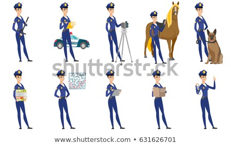 Young caucasian police officer and horse. Stock photo © RAStudio