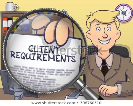 Klienta wymaganie obiektyw gryzmolić młodych biznesmen Zdjęcia stock © tashatuvango