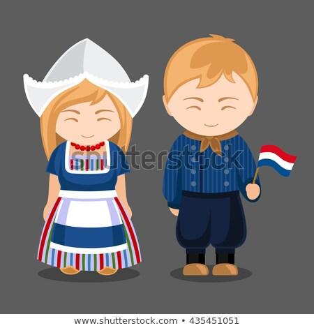 カップル 笑みを浮かべて オランダ語 フラグ 女性 サッカー ストックフォト © IS2